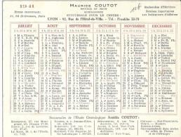 CALENDRIER- MAURICE COUTOT -DOCTEUR EN DROIT GENEALOGISTE LYON -1941 - Calendriers