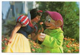 Disney--WALT DISNEY WORLD-1989--Blanche-Neige Et Simplet ,cpm Walt Disney Prod--timbre Au Verso - Disneyworld