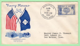 USA SC #794 FDC  1937 5c Navy (05-26-1937), CV $8.50 - First Day Covers (FDCs)