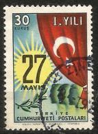 Turkey 1961 - Mi. 1804 O, Sun With Date, Turkish Flag   Heads   Olive Branch - Gebruikt