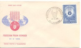 1963. India, FAO, Freedom From Hunger, FDC,   Mint/** - FDC