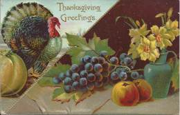 THANSGIVING - GREETINGS - Dinde Et Fruits - Chromo - Thanksgiving