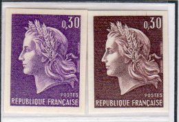 MARIANNE DE CHEFFER - Essais De Couleurs Du 0,30F - (N° 1536**)  - 2 Essais - 1967-70 Marianne Of Cheffer
