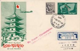 "Israel-Japan 1957 Registered FFC / First Flight Cover ""Air France-Super Constellation"" AF 5 - Airplanes"