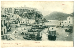 MESSINA Isole Eolie Lipari - Panorama Sul Porto Molto Animata C. 1904 - Messina