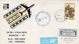 "Israel-Romania 1968 Registered FFC / First Flight Cover ""El Al"" EA 2 - Vliegtuigen"