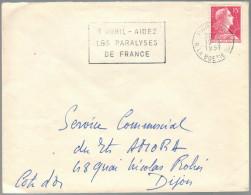 FRANCIA - France - 1957 - 15F - Flamme 7 Avril - Aidez Les Paralyses De France - Viaggiata Da Paris Per Dijon, France - Marcofilia (sobres)