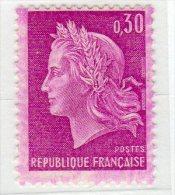 MARIANNE DE CHEFFER - 0,30F Lilas (N° 1535**) Défaut D'encrage - 1967-70 Marianne Of Cheffer