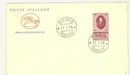 FILATELIA - ANNO 1958 - FDC FIRST DAY COVER - CAVALLINO - EVANGELISTA TORRICELLI - FDC