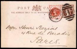 GREAT BRITAIN. Cartas. 1891. Warrington To France. Stat.card+adtl. - Grande-Bretagne