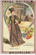 Chromos - Cafés Kolonia, Bruxelles - Série Costumes De Femmes - DANEMARK (monument, Armoiries Ou Drapeau) No 2-10 - Thé & Café