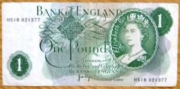 Used One Pound GB Banknote-Page No BK-978 - 1952-… : Elizabeth II