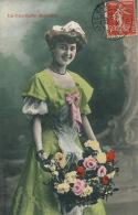 """FEMMES - FRAU - LADY - Jolie Carte Fantaisie Portrait Jeune Femme Et Fleurs """"La Cueillette Matinale"""" - Edit. BERGERET - Femmes"""