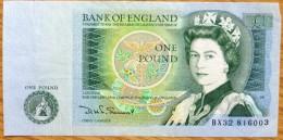 Used One Pound GB Banknote-Somerset No BK-987 - 1952-… : Elizabeth II