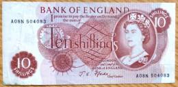 Used Ten Shillings GB Banknote-Fforde No BK-992 - 1952-… : Elizabeth II