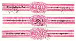 Österreich - Verrechnungsmarke Für Geldanweisung Nr.2b 3 Stück 14 1/2 Feine Zähnung Austria Netto : 220 € - Portomarken
