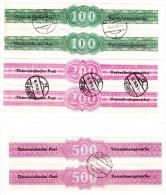 Österreich Verrechnungsmarke Für Geldanweisung 1948 Nr. 1, 2 Und 3 Gest. Serie 100, 200 U. 500 Sh.  Im Paar - Portomarken