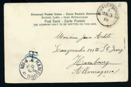 """GRANDE BRETAGNE- OBLITERATION """" SEA POST OFFICE """" 1906 SUR CP DE BOMBAY POUR HAMBOURG  A VOIR    LOT P2218 - 1902-11 King Edward VII"""