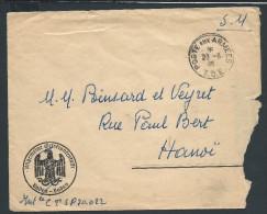 FRANCE- ENVELOPPE DE BADEN BADEN Obl Poste Aux Armees T.O.E. 1946 POUR HANOI  S.P.M. 403 X.Y. POUR ETUDE LOT P2223 - Marcophilie (Lettres)