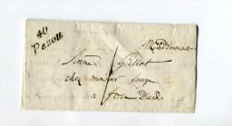 !!! CURSIVE DE PEZOU (LOIR ET CHER) SUR LETTRE DE 1836 - Marcophilie (Lettres)