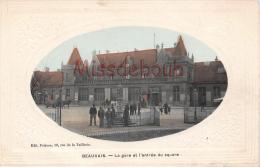 60 - BEAUVAIS -  La Gare  Et L'entrée Du Square - Médaillon - Gauffrée-   - 2 Scans - Beauvais