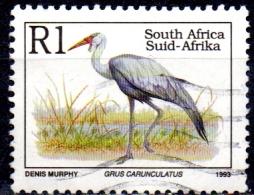 SOUTH AFRICA 1993 Endangered Fauna -1r. - Wattled Crane  (Latin Name)  FU - South Africa (1961-...)