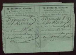 Paris - Th. Dufrasne - Négociant En Charbons De Terres Et Cokes, 82 Quai De Loire à La Villette - 1859 - 1800 – 1899