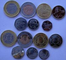 BOTSWANA SERIE COMPLETA 2013 7 MONETE CON 2 BIMETALLICHE 5-2-1-PULA 50-25-10-5 THEBE FDC UNC - Botswana