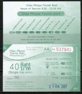 Ticket Chao Phraya Tourist Boat (Bangkok) . Deux Photos Recto-verso - Billets D'embarquement De Bateau