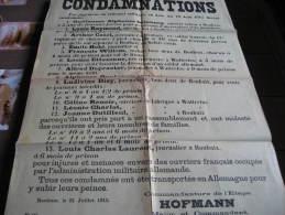 Guerre 1914-1918. Affiche. 21 juillet 1915. Condamnations d�Habitants de Roubaix et de Wattrelos par
