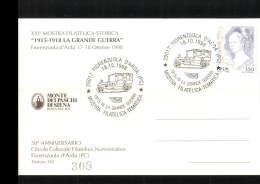 18-10-1998 ANNULLO SPECIALE MOSTRA FILATELICA TEMATICA LA GRANDE GUERRA 29017 FIORENZUOLA D'ARDA PIACENZA CARTROLINA 308