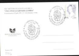 17-10-1998 ANNULLO SPECIALE XXI MOSTRA FILATELICA LA GRANDE GUERRA 29017 FIORENZUOLA D'ARDA PIACENZA CARTOLINA 295/350
