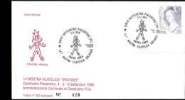 5-9-1999 ANNULLO SPECIALE 14� MOSTRA FILATELICA ORCHIDEE ORCHIS SIMIA 29010 CASTELVETRO PIACENTINO PIACENZA BUSTA 428