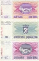 BOSNIA - HERZEGOVINA  SET  OF 3 BANKNOTES 10-25-50 Dinara  P10-11-12 Dated  1.7.1992 - Bosnia Erzegovina