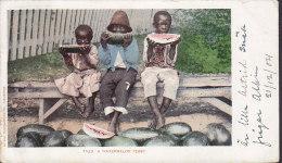 United States CPA Black Americana (7439) A Watermelon Feast Detroit Photo Co., NEW ORLEANS 1904 LONDON England (2 Scans) - Black Americana