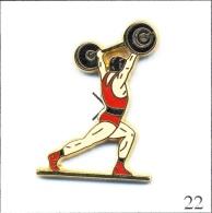 Pin´s Pin´s - Sport - Haltérophilie - Version Body Rouge/Ceinture Noire. Est. Arthus Bertrand. Zamac. T335-22 - Weightlifting