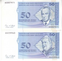 BOSNIA - HERZEGOVINA  SET 2 BANKNOTES   50 Cinvertible Pfeniga   P57 P58  ( 1998 ) - Bosnia Y Herzegovina