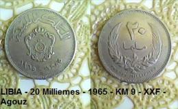 LIBIA - 20 Milliemes - 1965 - KM 9 - XXF - Agouz - Libya