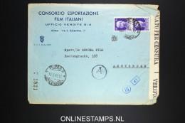Italy: Cover 1943 Film Italiana To Amsterdam, Double Censored - 1900-44 Vittorio Emanuele III