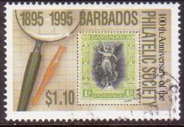 BARBADOS 1996 SG #1068 $1.10 VF Used Philatelic Society Stamp On Stamp - Barbados (1966-...)