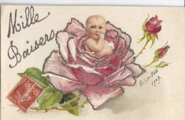 """BEBE DANS UNE ROSE ROSE BORDEE DE PAILLETTES ARGENTEES  """"MILLE BAISERS"""" CARTE GAUFFREE - Fêtes - Voeux"""