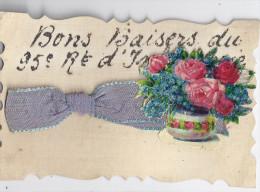 BONS BAISERS DU 95è REGIMENT D'INFANTERIE - RUBAN BLEU ET ROSES ET MYOSOTIS DANS UN POT (collage) - Other
