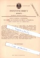 Original Patent - G. Kamossa In Insterburg / Tschernjachowsk , 1883 ,  Festhalten Der Wirbel An Pianofortes !!! - Ostpreussen