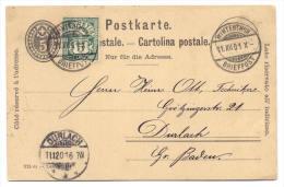 GS Schweiz 1901 Von Winterthur Nach Durlach - Interi Postali