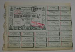 Canal Inteoceanique De Panama, Obligation De 500 Francs 3% Verte, 1882 - Navigation