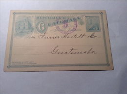 Guatemala, 1895, Postal Stationery Card 3 C CDS AMBULANTE NO.3 ESCUINTLA Y SAN JOSÉ (railroad, T.P.O. Cancel) - Guatemala