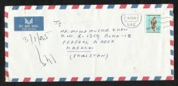 United Arab Emirates UAE  Air Mail Postal Used Cover Sharjah To Pakistan Eagle Birds  Stamps - Verenigde Arabische Emiraten
