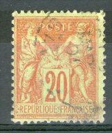 N°96°_Rouge Sur Vert-jauine_Savoie_bon Centrage - 1898-1900 Sage (Tipo III)