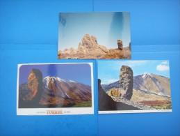 53)  Iles Canaries :  Las Canadas Del Teide , Rocas  : Recto Verso :  2 Cartes + 1 Photo 1995 - Tenerife