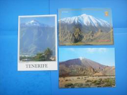 57)  Iles Canaries :  El Teide : Recto Verso :  3 Cartes - Tenerife